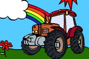 Colorful Tractor Coloring